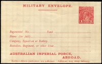 Lot 847:1917-19 1d Red KGV Sideface 'AUSTRALIAN IMPERIAL FORCE,/ABROAD.' At the Base Military Envelope, setting 1 – top of stamp level with letters, on wove paper, BW #ME5B, fine unused, Cat $300.