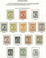 Lot 139 [2 of 5]:1913-65 Mint Collection on Seven Seas hingeless leaves with Roos to 2/- including First Wmk 3d Die I, 4d, 5d & 6d & Third wmk 2/-, SMult 1/-, KGV Heads Single Wmk 4d orange, 4d violet & 4d blue mint, SMult P13½x12½ 1/4d, KGV commems including ANZAC, Macarthur & Jubilee sets, Robes Thick & Thin papers, Navigators set (ex £1 cream paper); also BCOF set; toning issues throughout. (Few 100s)