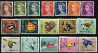 Lot 612 [3 of 3]:1966-71 QEII Defintives 1c to $4 set including both perfs of $1 Flinders, SG #382-403 & 401a, fresh MUH, Cat £160. (26)