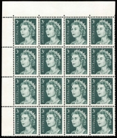 Lot 613 [2 of 3]:1966-73 QEII 3c Grey-Green variety Missing right frame and shading at top [ShB 4/4] plus Retouch Types I & II in corner blocks of 18, fresh MUH, Cat $125++. (3)
