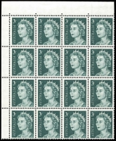 Lot 613 [3 of 3]:1966-73 QEII 3c Grey-Green variety Missing right frame and shading at top [ShB 4/4] plus Retouch Types I & II in corner blocks of 18, fresh MUH, Cat $125++. (3)