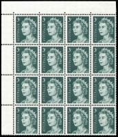 Lot 613 [1 of 3]:1966-73 QEII 3c Grey-Green variety Missing right frame and shading at top [ShB 4/4] plus Retouch Types I & II in corner blocks of 18, fresh MUH, Cat $125++. (3)