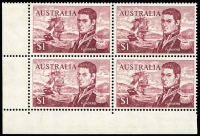 Lot 728:1966-74 $1 Flinders variety Extensive recut between sails and eye - State II with plate fracture [Shb L10/1] BW #463ga, in corner block of 4, fresh MUH, Cat $135+.