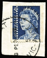 Lot 725:1967-72 5c Blue QEII Booklet Stamp variety Vertical perforations misplaced 5mm to the right BW #445b, tied to small piece, Cat $750 (for a complete mint booklet pane; unpriced used).