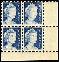 Lot 614:1967-72 QEII 5c Blue variety Offset BW #444c corner block of 4, fresh MUH, Cat $300+.