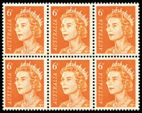 Lot 727:1970-73 6c Orange QEII Non-helecon Uncoated paper (dull grey u/v reaction) BW #446ad block of 6, fresh MUH, Cat $600+.