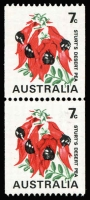 Lot 355:1971-74 7c Sturt's Desert Pea Coil error Buff omitted being the upper unit of a pair BW #535ce, fresh MUH, Cat $300+.