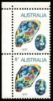 Lot 359:1973-80 8c Opal error Black partially omitted ('8c' & upper half of gemstone) BW #644cc, being the upper unit of a vertical corner pair, fresh MUH, Cat $450.