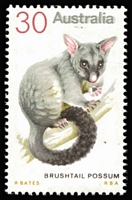 Lot 734 [1 of 2]:1974-78 Marsupial Definitives 30c Brushtail Possum variety Grey doubly printed, most noticeable in word 'AUSTRALIA' BW #662cc, with normal stamp for comparison, Cat $250.