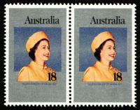 Lot 471 [2 of 2]:1977 18c QEII Silver Jubilee Imperforate plate proof pair (on thicker paper than issued stamp) with issued stamp pair for comparison. Brusden White only list the 45c value in a proof pair (BW #766PP(1), Cat $500). (4)
