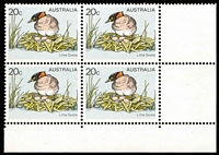 Lot 472 [2 of 2]:1978-84 Birds 20c Little Grebe error Yellow omitted (bird's eye & beak) BW #805cb corner block of 4, with normal block for comparison, Cat $1,000+. (8)
