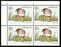 Lot 472 [1 of 2]:1978-84 Birds 20c Little Grebe error Yellow omitted (bird's eye & beak) BW #805cb corner block of 4, with normal block for comparison, Cat $1,000+. (8)