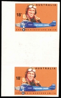 Lot 762:1978 Aviators 18c Kingsford Smith Imperforate gutter pair BW #792b, fresh MUH, Cat $150.