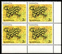Lot 653:1982-88 Reptiles & Amphibians 3c Corroboree Frog corner block of 4 variety Black doubly printed (most noticeable on inscription at top) BW #934c, fresh MUH, Cat $200+.