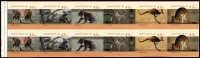 Lot 914:1994-97 Kangaroos & Koalas 4th Reprint Roll Stamp part segment with all six designs repeated over two rows error Unseparated horizontally between the two rows, backing paper intact, each stamp has 4th Koala reprint symbols & 'SNP CANBEC' imprinted on reverse of the backing paper. Extremely rare.