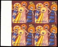 Lot 785:1997 The Dreaming 45c Imperforate marginal block of 4, fresh MUH, very fine, Cat $700+.