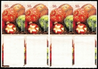 Lot 863:2008 Christmas 50c Baubles part booklet pane of 8 (4x2), lower stamps removed, upper units Imperforate on upper left & sides and at topb, some internal tears caused by attempts to remove stamps.