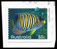 Lot 383 [2 of 4]:2010 Fishes of the Reef four examples from the series, all misperforated, including 5c Coral Rabbitfish Grossly misperforated with part of design missing at base, all used on piece. (4)