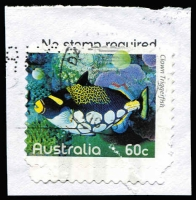 Lot 383 [3 of 4]:2010 Fishes of the Reef four examples from the series, all misperforated, including 5c Coral Rabbitfish Grossly misperforated with part of design missing at base, all used on piece. (4)
