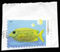 Lot 383 [1 of 4]:2010 Fishes of the Reef four examples from the series, all misperforated, including 5c Coral Rabbitfish Grossly misperforated with part of design missing at base, all used on piece. (4)