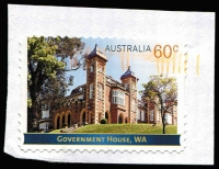 Lot 792 [2 of 2]:2013 Government Houses 60c Government House (WA), variety Imperforate on all four sides used on piece, with normal stamp for comparison. Modern rarity.