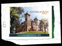 Lot 792 [1 of 2]:2013 Government Houses 60c Government House (WA), variety Imperforate on all four sides used on piece, with normal stamp for comparison. Modern rarity.