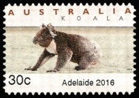 Lot 389:2016 30c Adelaide Emergency Counter Printed Stamp (Koala on ground), unused.