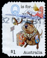 Lot 919:2016 Aussie Alphabet $1 'Q is for...' Die-cut self-adhesive, variety Imperforate at left, used.