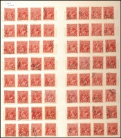 Lot 239 [3 of 4]:1d Red Accumulation in stockbook majority Single Wmk Smooth paper with minor varieties, dated and very fine used examples, private perfins, datestamp cancels, shades, postal stationery cut-outs, etc. Intriguing lot for the specialist. (1,100+)