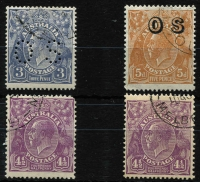 Lot 620 [2 of 2]:CTO Selection with Single Wmk 1d violet, SMult P14 3d perf 'OS' Watermark inverted, SMult P13½x12½ 4½d violet x2 (one rounded corner without gum, the other toned gum), and CofA 5d optd 'OS'. (5)