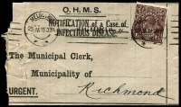 Lot 245 [1 of 4]:KGV 1½d Black-Brown Solo Frankings On Cover x240+ on OHMS Notification of Infectious Disease printed notices, mostly used in 1919 from Melbourne to Richmond, a few with stamps uncancelled; wonderful research opportunity for KGV enthusiasts and likely unchecked for varieties. (240+)