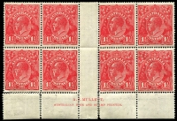 Lot 225:1½d Red Die I Mullett imprint block of 8 (R55 with small notch in bottom frame), BW #89(26)z, reinforced perf separations at base, six units MUH, Cat $375+.