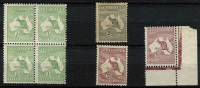 Lot 504 [2 of 2]:Mint Variety Selection with First Wmk ½d block of 4 upper-left unit Broken ear on Roo lower-left unit Flaw off coast of Sydney. Third Wmk 3d Die I Scratch under 'P' of 'POSTAGE' (heavy toning), 2½d Break on tip of Cape York Peninsula, CofA 2/- Die I x2, one with White flaw in Gulf of Carpentaria the other with unlisted Small break in value circle; generally fine. (5)
