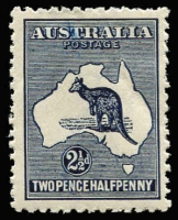 Lot 504 [1 of 2]:Mint Variety Selection with First Wmk ½d block of 4 upper-left unit Broken ear on Roo lower-left unit Flaw off coast of Sydney. Third Wmk 3d Die I Scratch under 'P' of 'POSTAGE' (heavy toning), 2½d Break on tip of Cape York Peninsula, CofA 2/- Die I x2, one with White flaw in Gulf of Carpentaria the other with unlisted Small break in value circle; generally fine. (5)