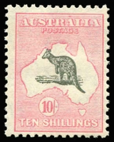 Lot 580:10/- Grey & Pink variety White flaw below 'N' OF 'TEN' [R21] BW #50(D)h, fine used, Cat $550.