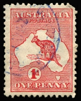 Lot 509:1d Red Die I variety Watermark sideways crown pointing to right (as seen from front of the stamp) BW #2aa, rounded corner, tidy cancel.