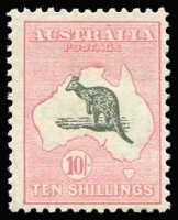 Lot 520:10/- Grey & Pale Pink BW #49, fresh MUH, Cat $3,000.