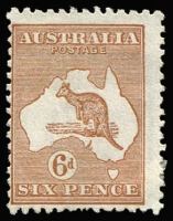 Lot 225:6d Chestnut Die IIB variety Broken leg on kangaroo BW #21(3)d, unused, Cat $250.