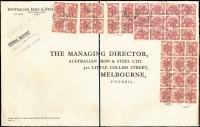 Lot 715:1946 2½d Peace x36 on Australian Iron & Steel (BHP) oversized printed cover (400x250mm) from Sydney to Melbourne, the 7/6d franking paying the combined airmail, express delivery & late fee, edge toning in places around stamps, fine overall. An impressive cover.