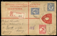 Lot 530 [1 of 2]:Queensland 1913 use of Queensland De La Rue 3d KEVII Registration Envelope H&G #2 uprated with 4-Corners 2d Sidefaces x2 & 1d Roo (perf faults) for double-rate transit to Germany, Wyandra red/black registration label, Brisbane transit & Riesa arrival backstamps, small tear on upper edge, otherwise fine. Nice item.