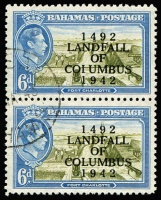 Lot 1270:1942 Columbus Anniversary 6d vertical pair, upper unit with overprint variety 'COIUMBUS' for 'COLUMBUS SG #169a, very fine used. Under catalogued at Cat £1,500+.