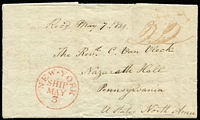 "Lot 1215:1839 (Mar 22) entire letter headed ""Bridgetown Barbados March 22nd 1839"" addressed to Pennsylvania USA, rated ""22"" with fine strike of 'NEW-YORK/SHIP/MAY/3' handstamp in red and manuscript ""Recd May 7.1839"" endorsement, small blemishes, fine overall."