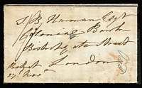 "Lot 1134 [2 of 2]:1847 (Nov 27) mourning cover to London endorsed ""Packet/27th Novr"", rated ""1/-"", on reverse fine 'BARBADOES/NO27/1847' double-arc datestamp, small internal fault on the face."