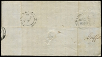 "Lot 1473 [2 of 2]:1859 (Apr 2) outer from Bridgetown to Trinidad rated ""4"" with imperf (1d) deep blue SG #10 tied by BN '1' cancel, very fine Griffith & Jeffray (merchants) oval handstamp at upper left, on reverse Barbados 'AP/2' departure and Trinidad 'AP/5' arrival datestamps, fine condition."