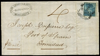 "Lot 1473 [1 of 2]:1859 (Apr 2) outer from Bridgetown to Trinidad rated ""4"" with imperf (1d) deep blue SG #10 tied by BN '1' cancel, very fine Griffith & Jeffray (merchants) oval handstamp at upper left, on reverse Barbados 'AP/2' departure and Trinidad 'AP/5' arrival datestamps, fine condition."