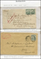 Lot 878 [3 of 5]:1892-1905 Seal of Colony On-Cover Selection with 1892-1903 Crown CA ¼d x10 on 1896 cover to USA, re-directed, ½d pair on 1900 cover to Niger Coast Protectorate & ½d solo on 1898 wrapper front to USA, ½d block of 8 + 1d on 1902 registered printed cover to UK, 1d x5 on 1899 cover to USA, 1d solo on 1901 cover to Southern Nigeria, 2½d solo on 1894 covers to UK x2; also 1905 MCA ½d pair or 1d solo on 1905 PPCs to New Zealand, plus 2½d on 1909 Isthmian Canal Commission cover to USA; cover variable, but generally quite fine. Nice usage lot. (11)
