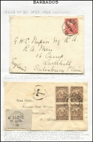 Lot 1169 [3 of 5]:1914-36 Cover Selection including 1913 PPC to Belgium with ½d KGV, 1914 to USA with 2½d KGV, 1929 registered to British Guiana with 2½d Seal pair, 1932 registered to British Guiana with 4d & ½d Seal, 1932 to St Lucia with ¼d Seal block of 4, Christ Church 'T'-in heart tax handstamp, St Lucia 1d Due added, 1934 Jones & Swan registered to Argentina with 2½d & 3d Seal, 1936 registered to India with ½d & 4d Seal, etc; generally fine. (11)