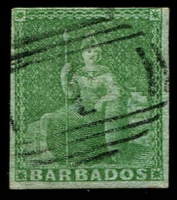 Lot 1193:1852-55 Blued Paper No Watermark Imperf (½d) yellow-green SG #1, margins largely complete, tidy cancel, Cat £700.