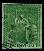 Lot 845:1852-55 Blued Paper No Watermark Imperf (½d) deep green SG #2, complete even margins, lightly used, Cat £325.