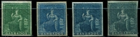 Lot 846 [2 of 2]:1852-55 Blued Paper No Watermark Imperf (½d) deep green, (1d) blue, (1d) deep blue, (2d) greyish slate (tiny discolouration, guarantee handstamp) & (4d) brownish red SG #2-5 incl 4a, complete margins, Cat £670.